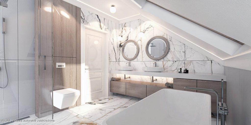 Łazienka z lustrem i wanną
