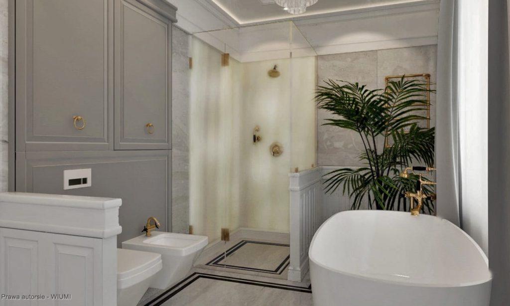 Marmurowa łazienka z dużą wanną i prysznicem
